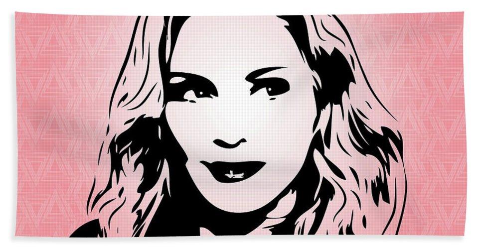 Art Hand Towel featuring the digital art Madonna - Pop Art by William Cuccio aka WCSmack