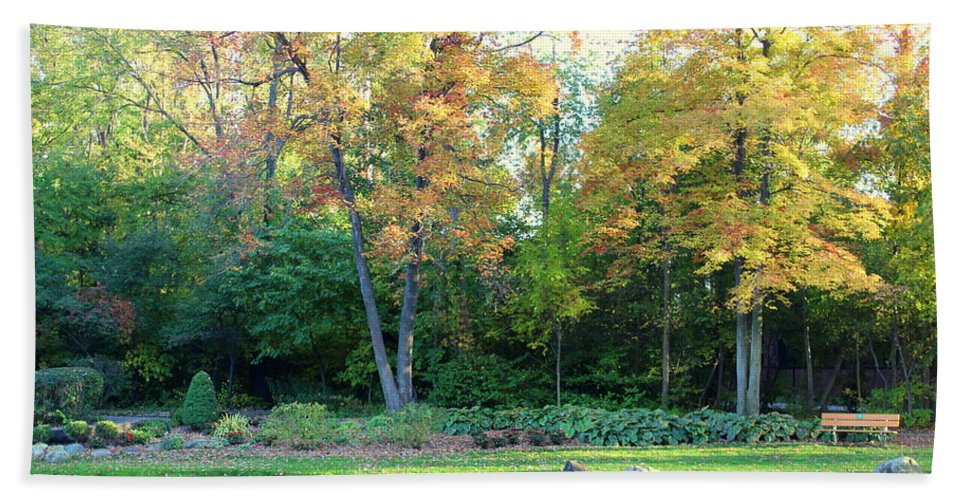 Fall Hand Towel featuring the photograph Mae Stecker Park In Shelby Township Michigan by Anita Hiltz