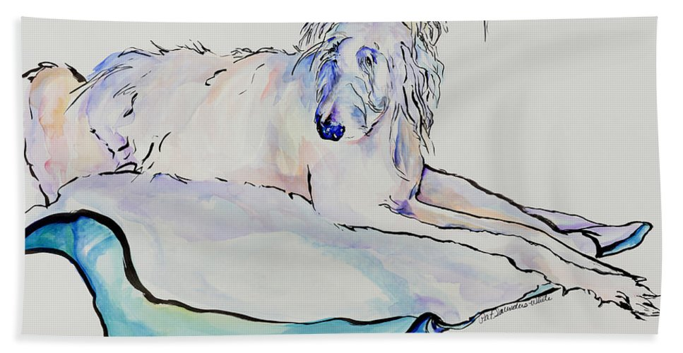 Animal Portrait Hand Towel featuring the painting Maevis by Pat Saunders-White