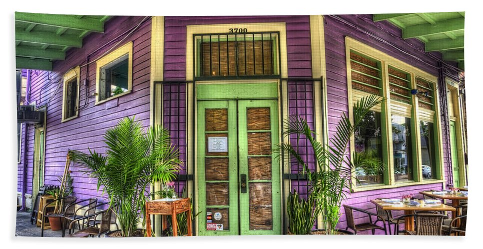 Nola Bath Sheet featuring the photograph Magazine Street Resaurant by Tammy Wetzel