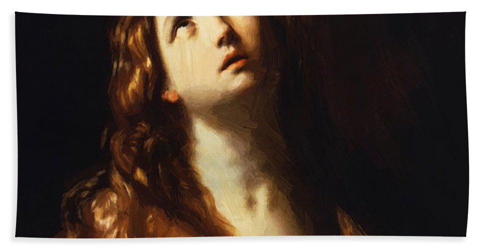 Magdalene Hand Towel featuring the painting Magdalene In Penitence 1635 by Reni Guido