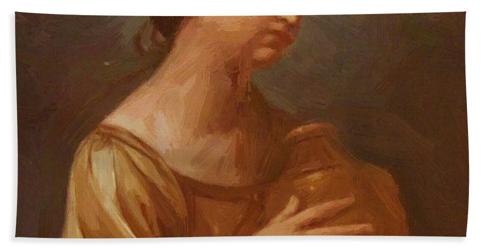 Magdalene Hand Towel featuring the painting Magdalene With The Jar Of Ointment by Reni Guido