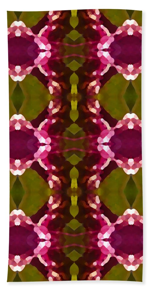Abstract Bath Towel featuring the painting Magenta Crystal Pattern by Amy Vangsgard