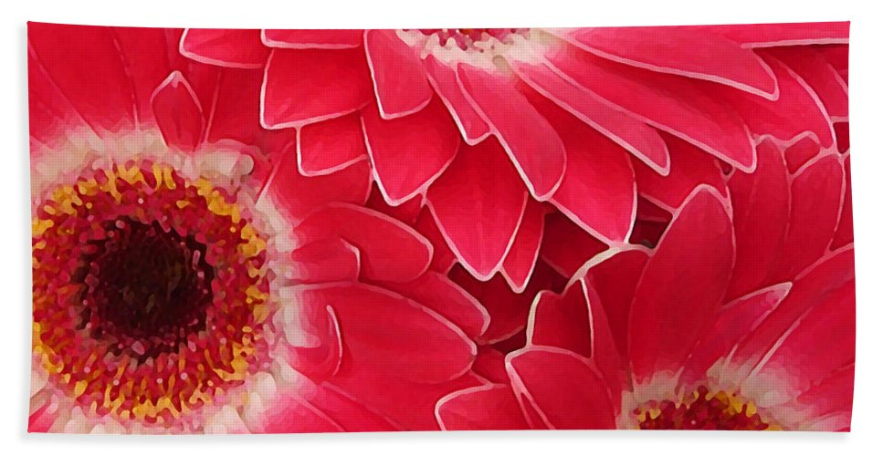 Daisy Hand Towel featuring the painting Magenta Gerber Daisies by Amy Vangsgard