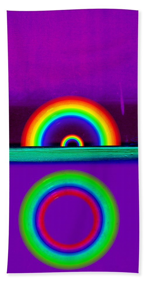 Rainbow Hand Towel featuring the painting Magenta Sunset by Charles Stuart