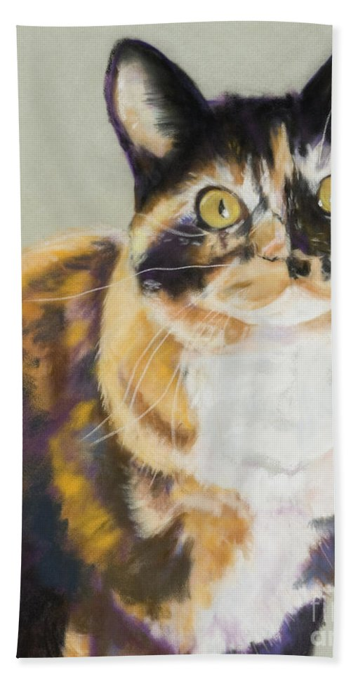 Calico Bath Towel featuring the painting Maggie Mae by Pat Saunders-White