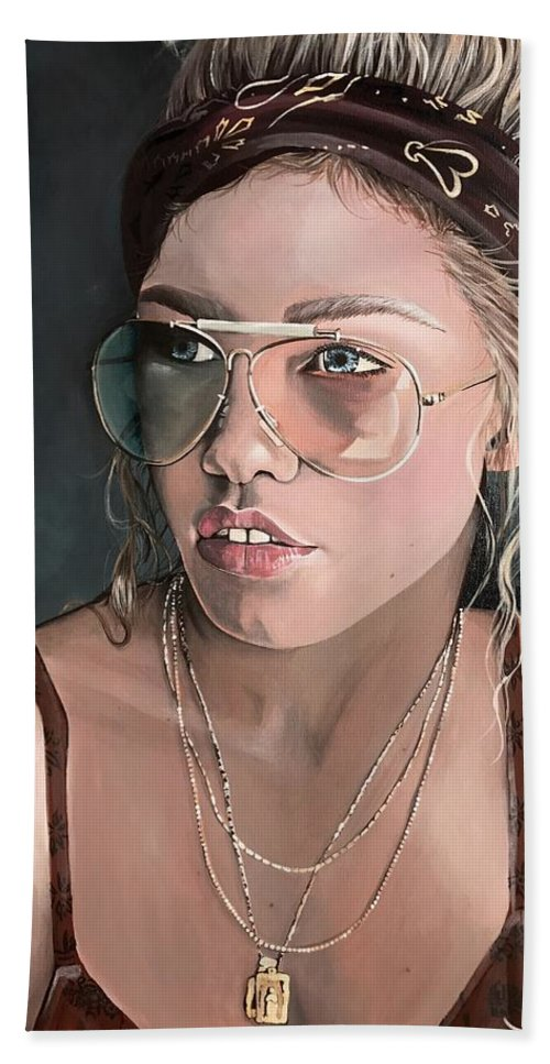 Portrait Bath Sheet featuring the painting Maggie by Sami Boren