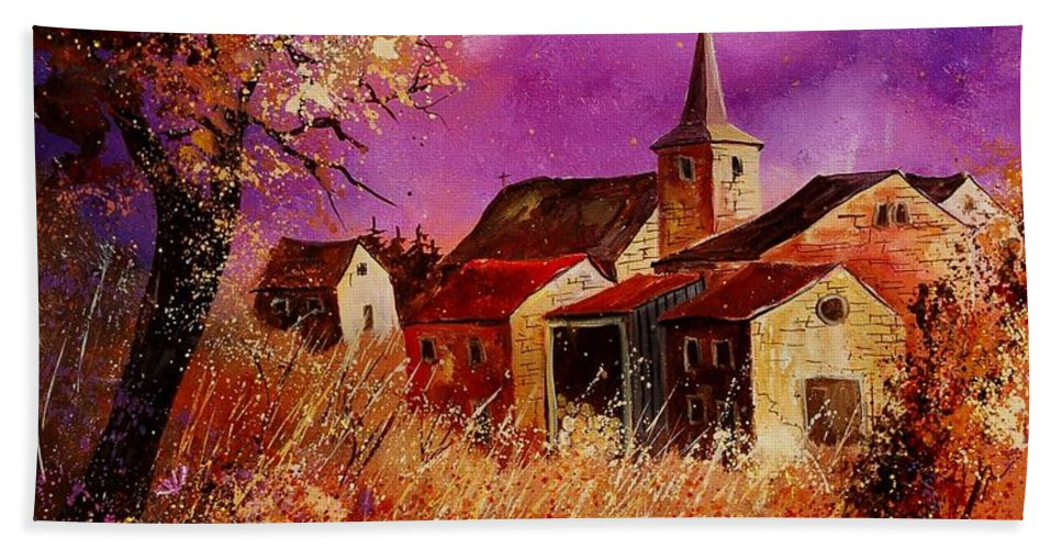 Landscape Hand Towel featuring the painting Magic Autumn by Pol Ledent