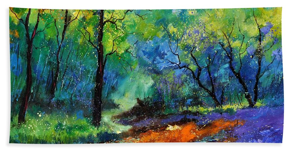 Landscape Hand Towel featuring the painting Magic Forest 79 by Pol Ledent