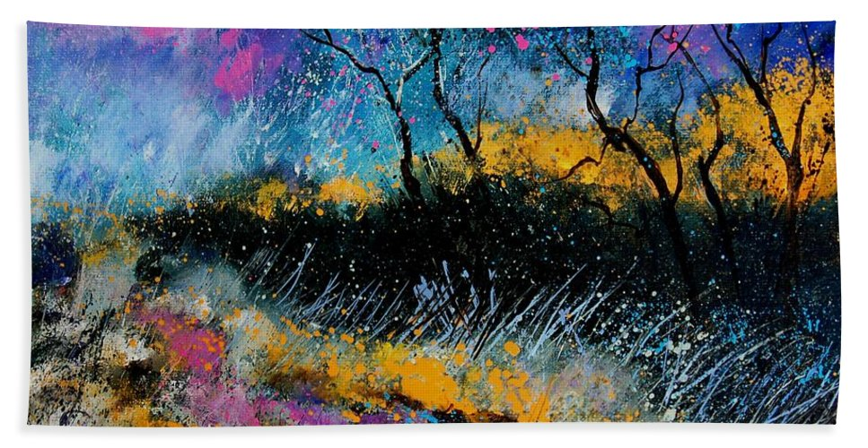 Landscape Hand Towel featuring the painting Magic Morning Light by Pol Ledent