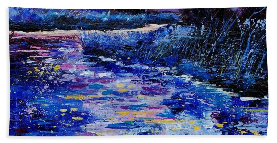 River Hand Towel featuring the painting Magic Pond by Pol Ledent