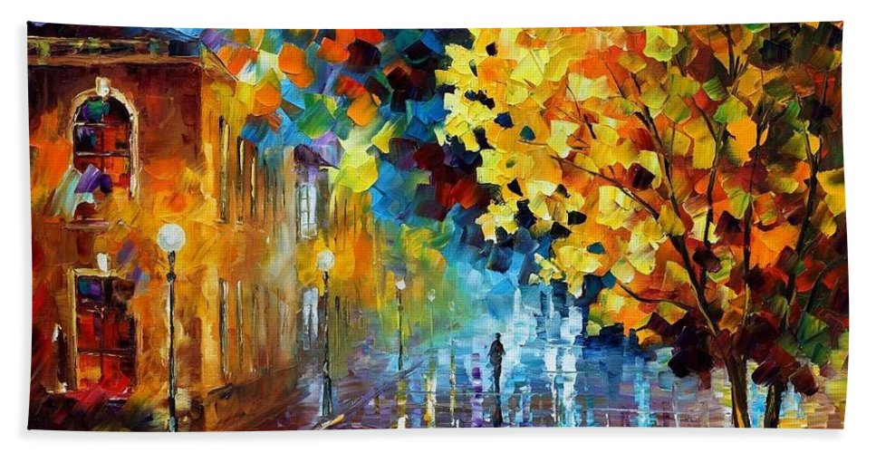 Afremov Bath Sheet featuring the painting Magic Rain by Leonid Afremov