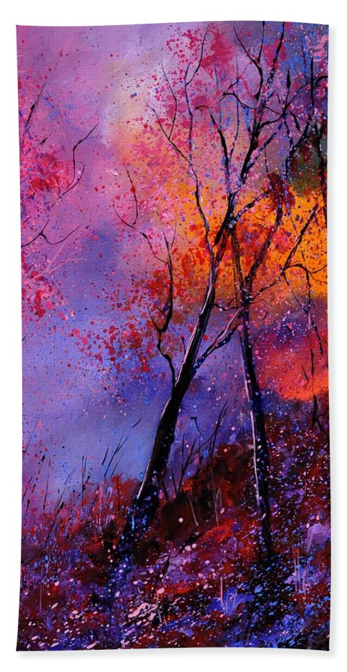 Landscape Bath Towel featuring the painting Magic trees by Pol Ledent