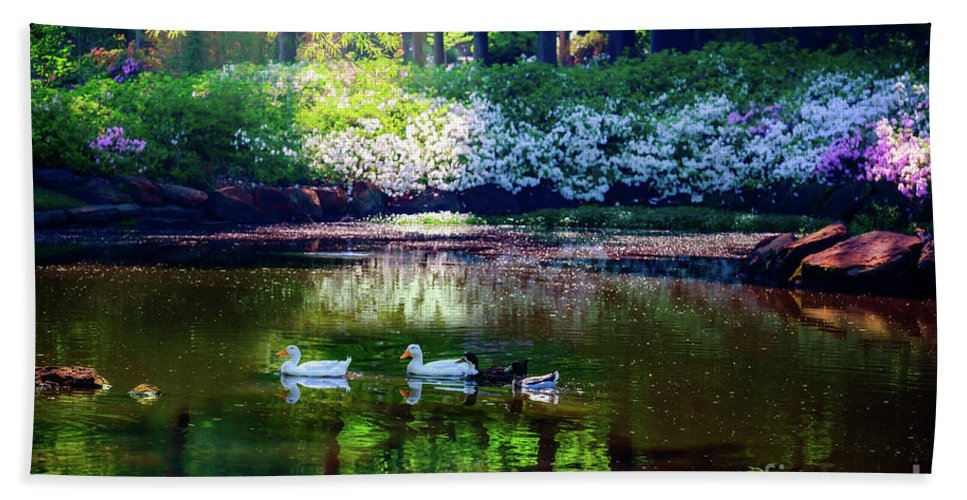 Tamyra Bath Sheet featuring the photograph Magical Beauty At The Azalea Pond by Tamyra Ayles