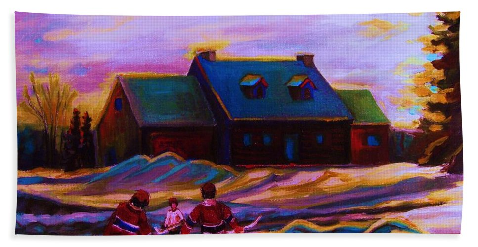 Hockey Bath Towel featuring the painting Magical Day For Hockey by Carole Spandau