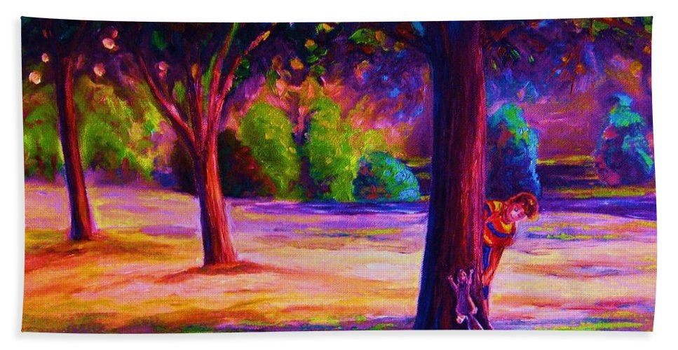 Landscape Bath Towel featuring the painting Magical Day In The Park by Carole Spandau