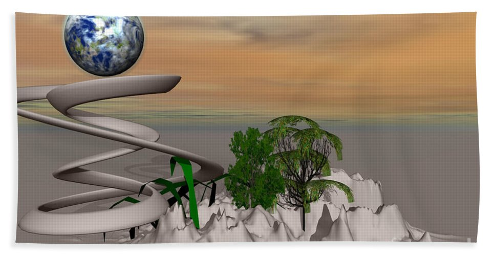 Digital Bath Sheet featuring the mixed media Magical Island by Deborah Benoit