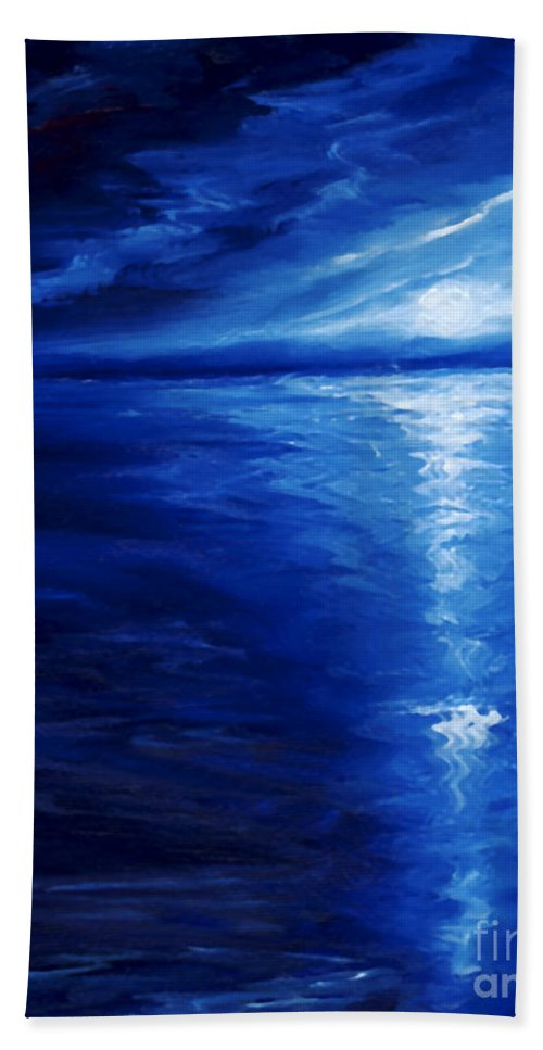 Blue Moon Bath Towel featuring the painting Magical Moonlight by James Christopher Hill