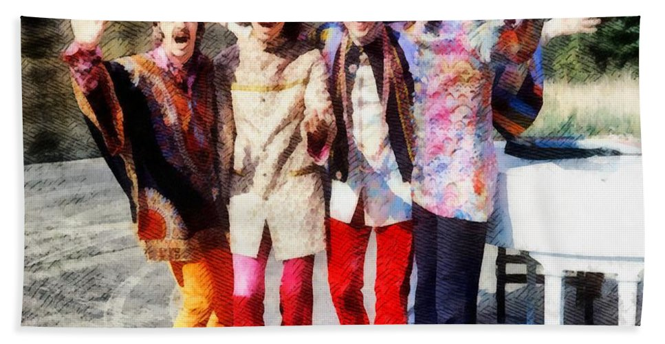 Hollywood Bath Towel featuring the painting Magical Mystery Tour, The Beatles by Esoterica Art Agency