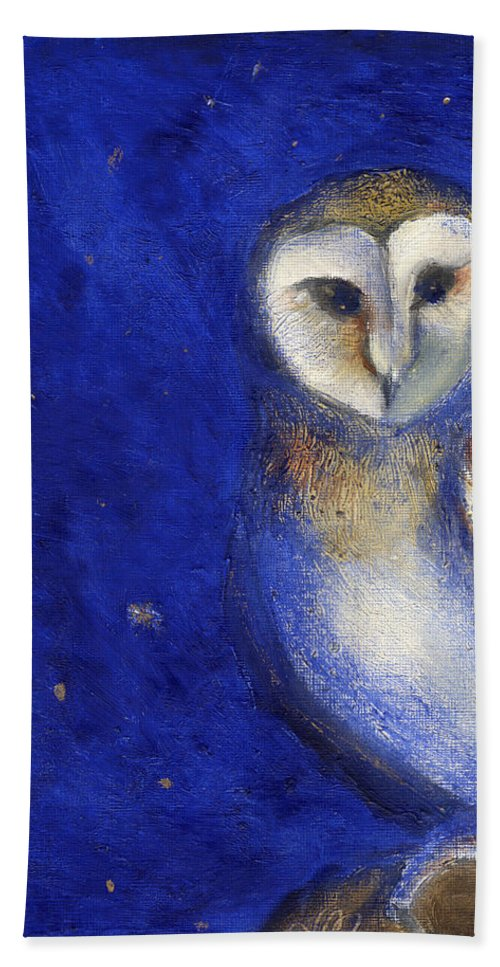 Owl Bath Sheet featuring the painting Magical Night One by Nancy Moniz
