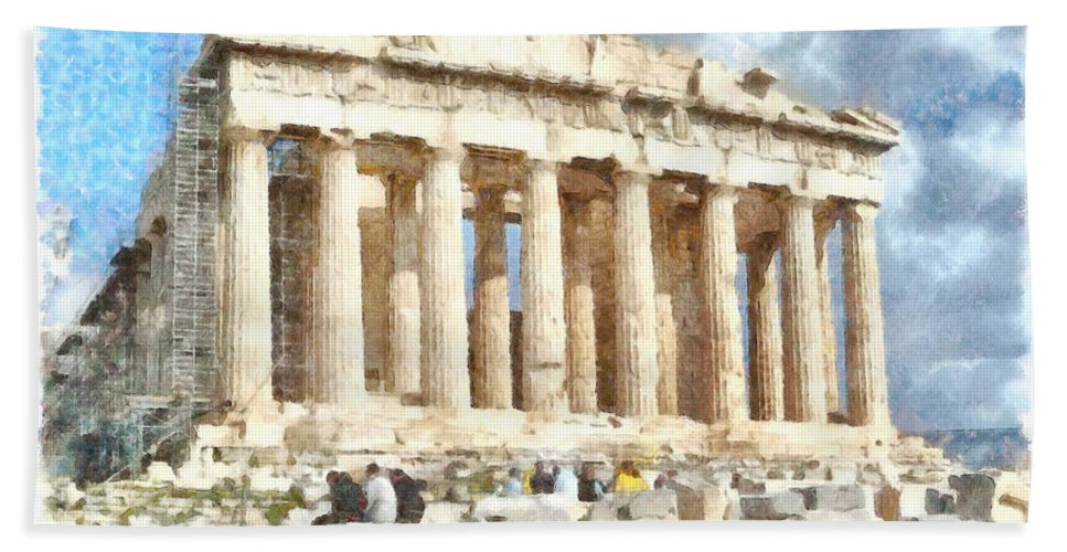 Parthenon Hand Towel featuring the photograph Magnificent Acropolis In Athens by Ashish Agarwal