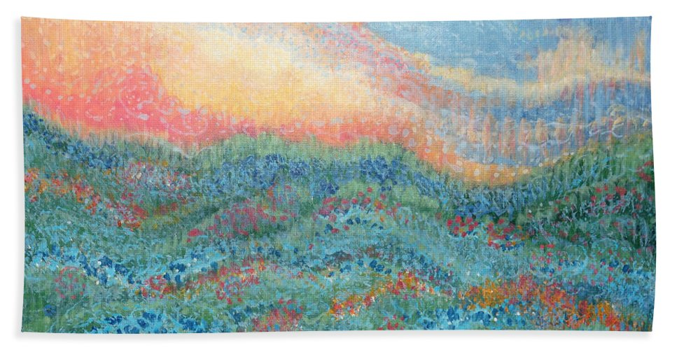 Magnificent Sunset Hand Towel featuring the painting Magnificent Sunset by Holly Carmichael