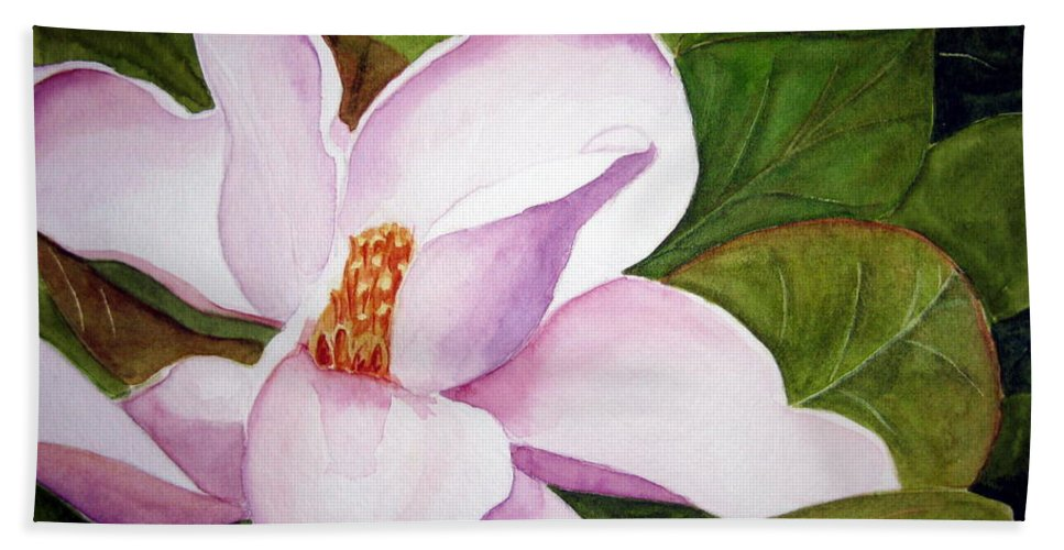 Flower Bath Towel featuring the painting Magnolia Blossom by Julia Rietz