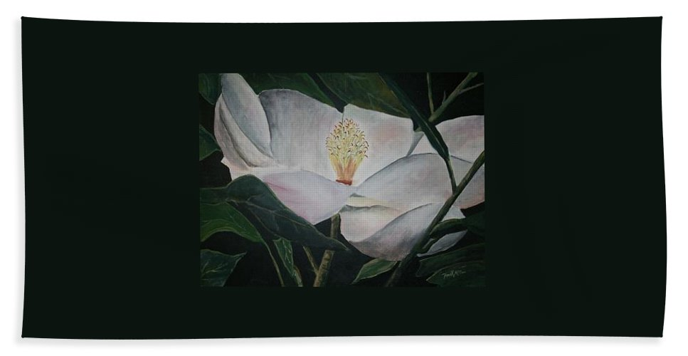 Oils Hand Towel featuring the painting Magnolia Flower Oil Painting by Derek Mccrea
