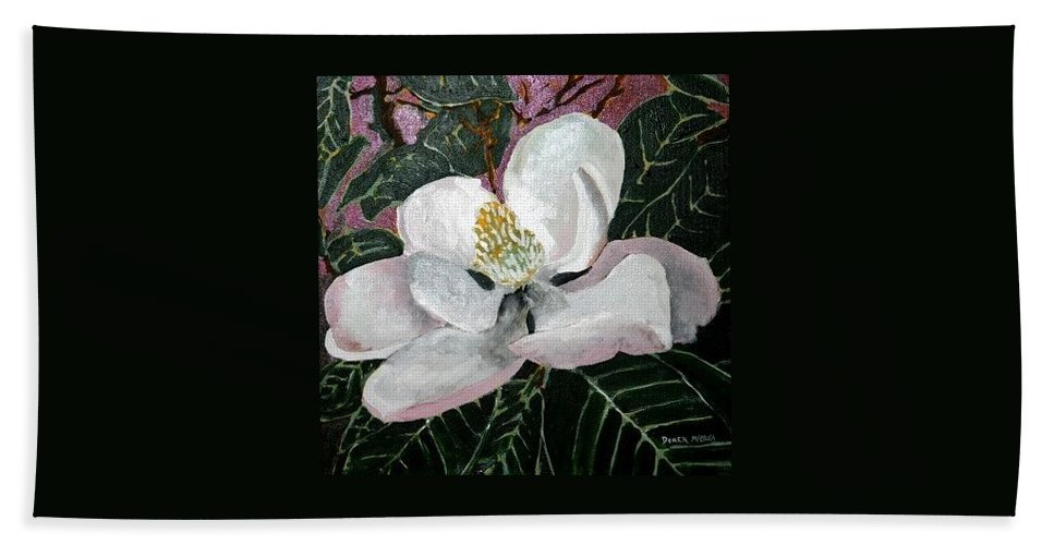 Acrylic Hand Towel featuring the painting Magnolia Flower Painting by Derek Mccrea