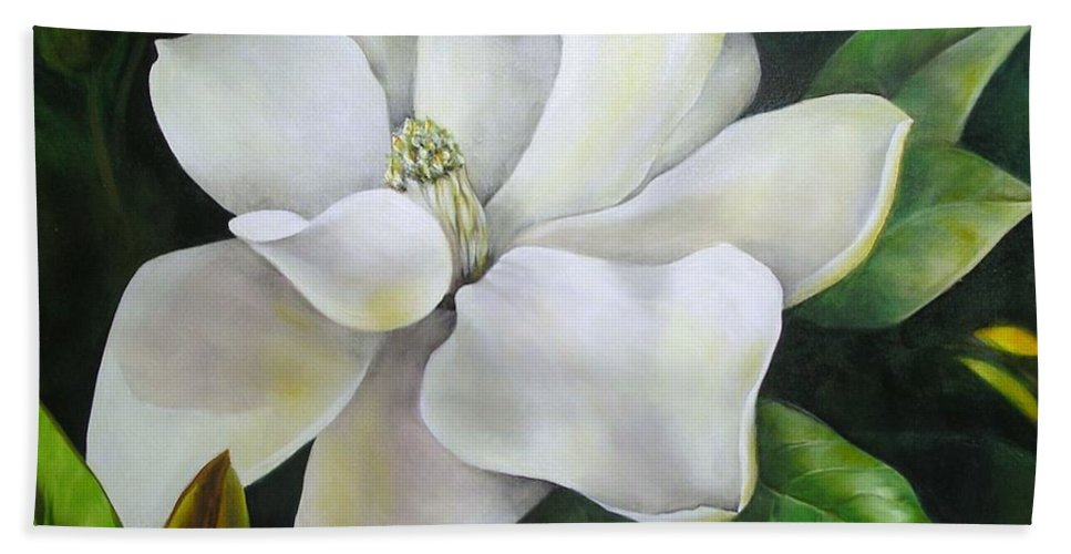 Flower Hand Towel featuring the painting Magnolia Oil Painting by Chris Hobel