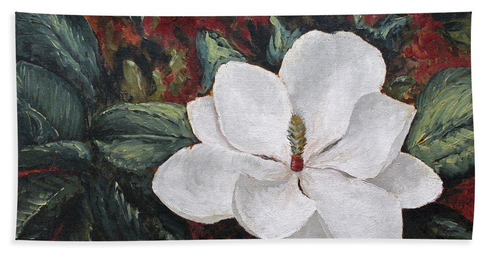 Flower Hand Towel featuring the painting Magnolia by Todd A Blanchard