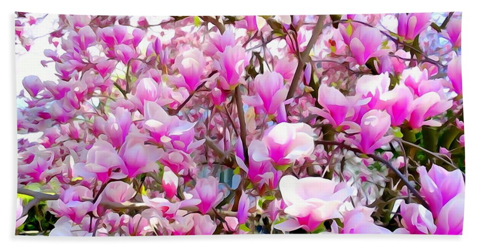 Abstract Hand Towel featuring the photograph Magnolia Tree Beauty #1 by Ed Weidman