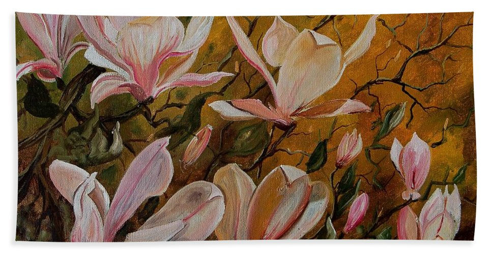 Flowers Hand Towel featuring the painting Magnolias by Pol Ledent