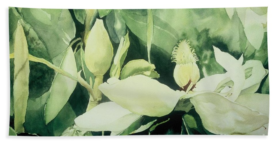 Magnolias Bath Towel featuring the painting Magnolium Opus by Elizabeth Carr