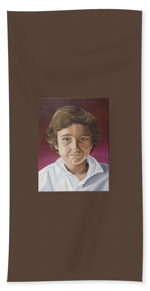 Portrait Hand Towel featuring the painting Magnus by Rob De Vries
