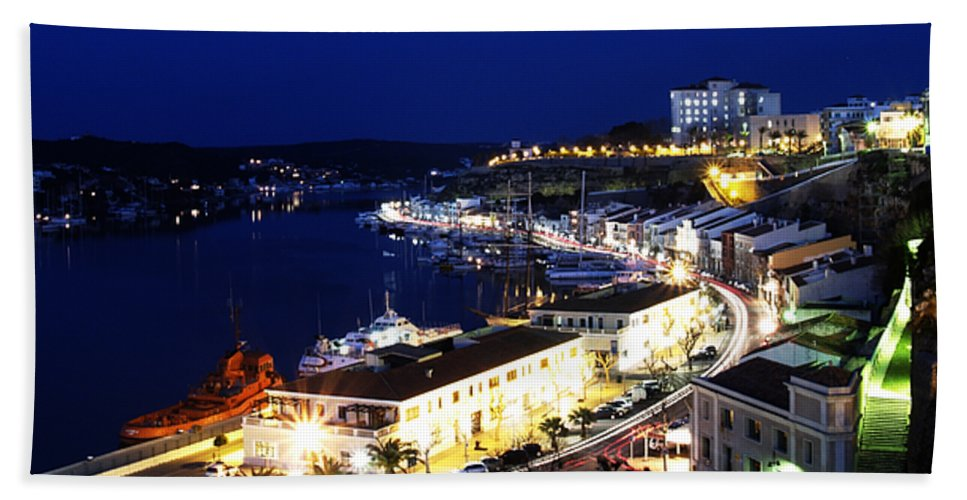 Mediterranean Hand Towel featuring the photograph Mahon Harbour At Night by Pedro Cardona Llambias