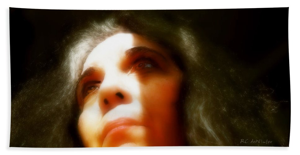 Portrait Bath Towel featuring the painting Maid Of Constant Sorrow  Self-portrait by RC deWinter
