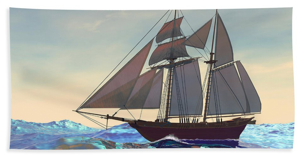 Sailing Bath Sheet featuring the painting Maiden Voyage by Corey Ford