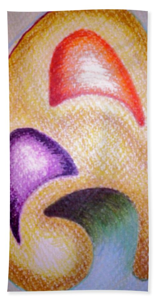 Abstract Bath Sheet featuring the drawing Mailed To You by Suzanne Udell Levinger