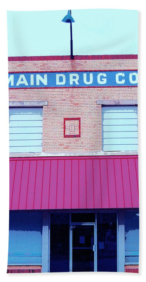 Old Building Hand Towel featuring the mixed media Main Drug Company by Dominic Piperata