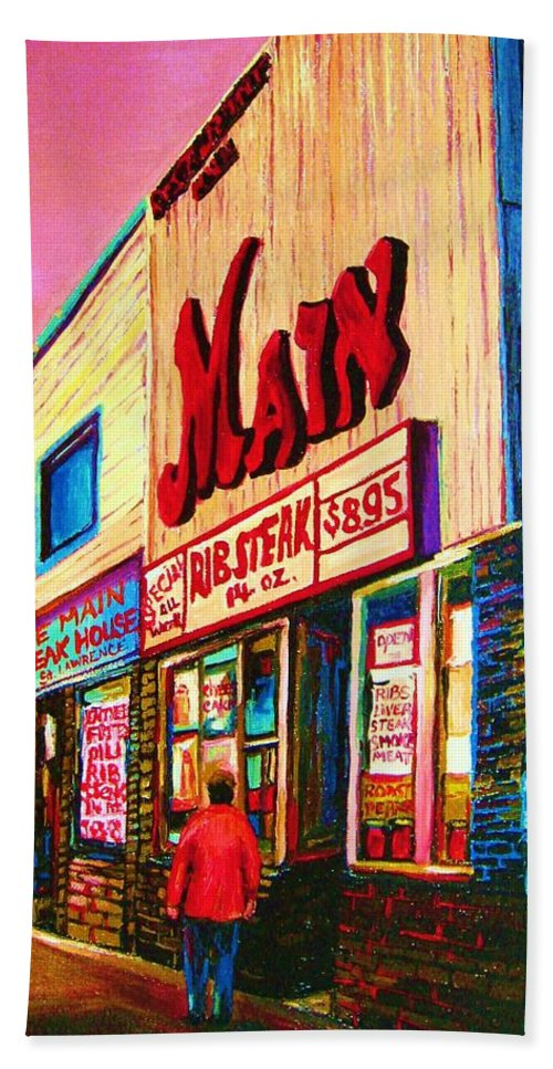 Montreal Bath Towel featuring the painting Main Steakhouse Blvd.st.laurent by Carole Spandau