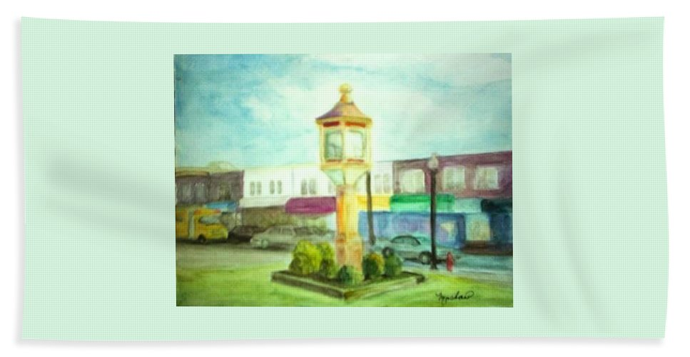 Clock Bath Towel featuring the painting Main Street by Sheila Mashaw