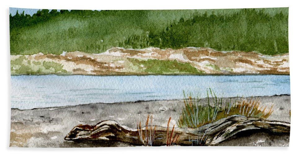 Landscape Bath Towel featuring the painting Maine Beach Wood by Brenda Owen