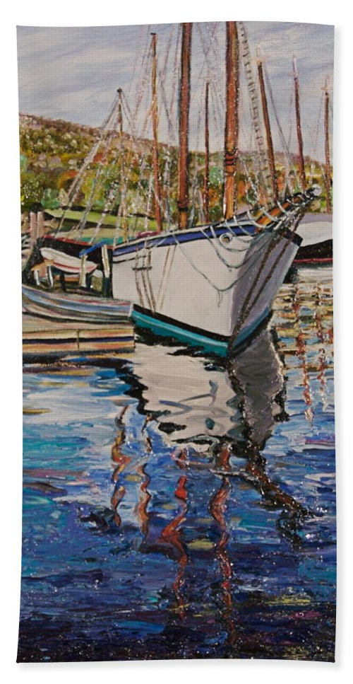 Maine Bath Towel featuring the painting Maine Coast Boat Reflections by Richard Nowak