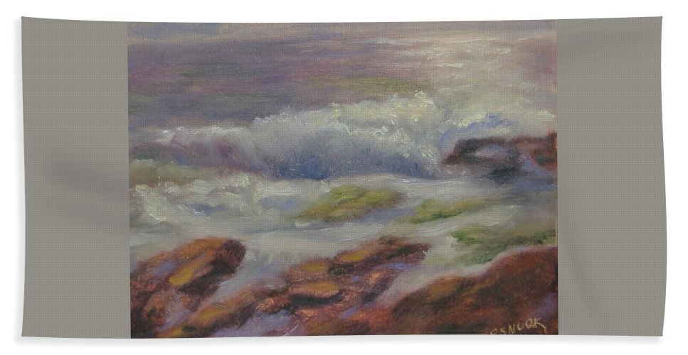 Seascape Bath Sheet featuring the painting Maine Coast by Pat Snook