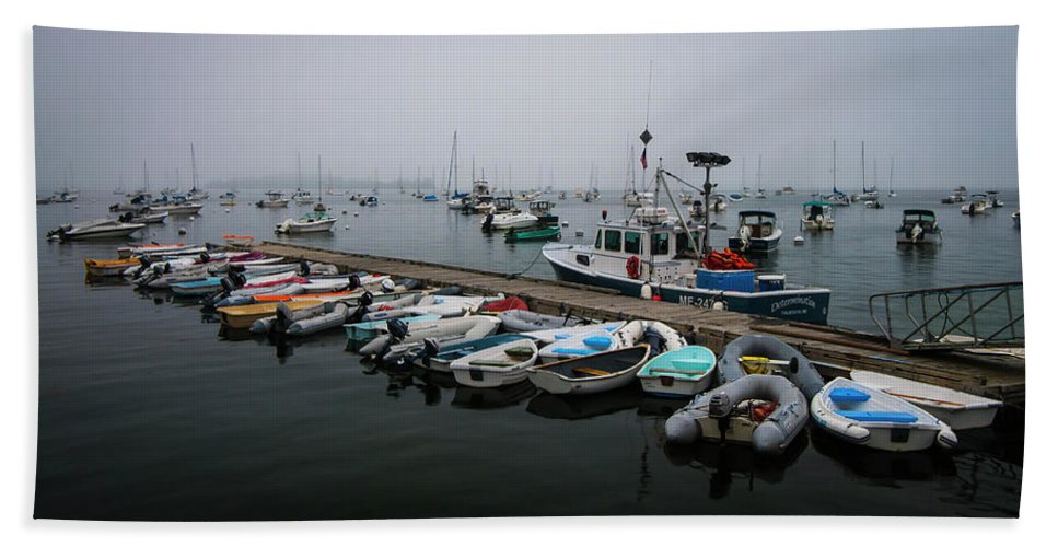 Maine Bath Sheet featuring the photograph Maine Falmouth Boat Landing On Misty Morning Panorama by Ranjay Mitra