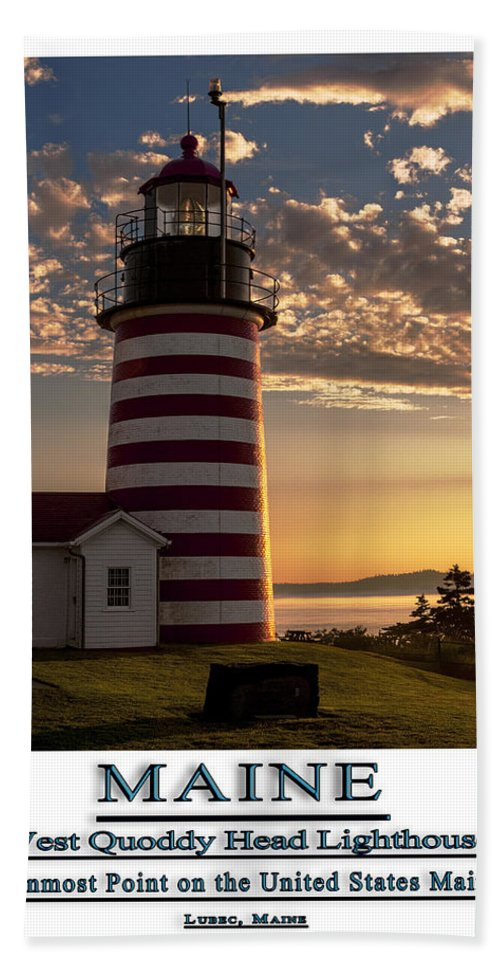 West Quoddy Head Lighthouse Bath Sheet featuring the photograph Maine Good Morning West Quoddy Head Lighthouse by Marty Saccone