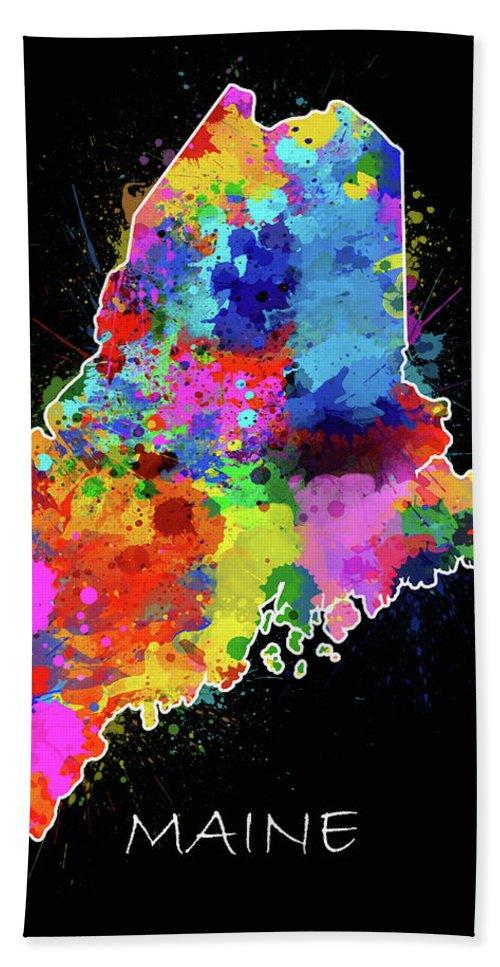 Maine Bath Towel featuring the digital art Maine Map Color Splatter 2 by Bekim M