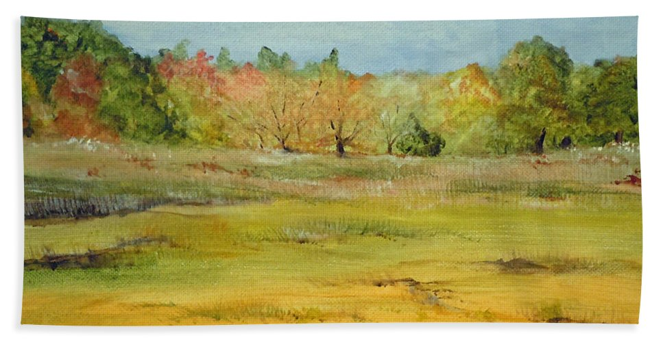 Landscape Hand Towel featuring the painting Maine Marsh by Jean Blackmer