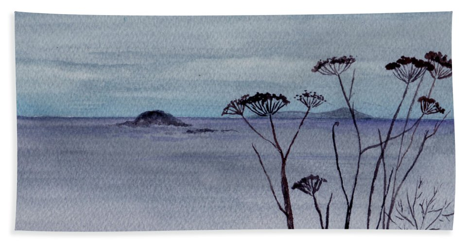Landscape Watercolor Sea Ocean Sky Cloudy Flower Weed Bath Towel featuring the painting Maine Moody Distance by Brenda Owen